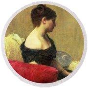 Portrait Of Madame Maitre Round Beach Towel by Ignace Henri Jean Fantin Latour