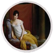 Portrait Of Madame Recamier Round Beach Towel