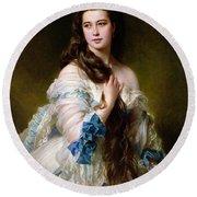Portrait Of Madame Rimsky Korsakov Round Beach Towel by Franz Xaver Winterhalter