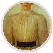 Portrait Of Maria Tolstaya Leo Tolstoy Daughter Round Beach Towel