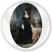 Portrait Of Marie Duplessis Round Beach Towel