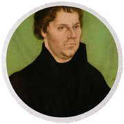 Portrait Of Martin Luther Round Beach Towel
