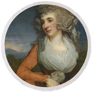 Portrait Of Mary Livius Round Beach Towel