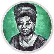 Portrait Of Maya Angelou Round Beach Towel