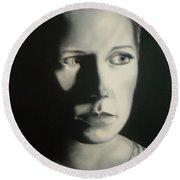 Portrait Of Michelle C. #2 Round Beach Towel