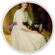 Portrait Of Miss Dorothy Dicksee  Round Beach Towel
