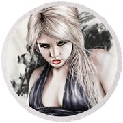 Portrait Of Miss Mosh Round Beach Towel by Pete Tapang
