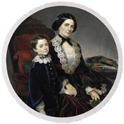 Portrait Of Mother And Son Round Beach Towel