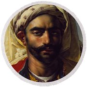 Portrait Of Mustapha Round Beach Towel