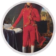 Portrait Of Napolan Bonaparte The First Council 1804 Round Beach Towel