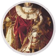 Portrait Of Napolan On The Imperial Throne 1806 Round Beach Towel