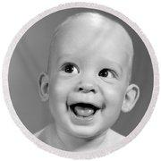 Portrait Of Nearly Bald Baby, C.1960s Round Beach Towel