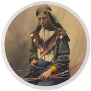 Portrait Of Oglala Sioux Council Chief Bone Necklace Round Beach Towel