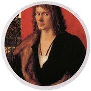 Portrait Of Oswolt Krel 1499 Round Beach Towel