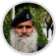 Portrait Of Pakistani Security Guard With Flowing White Beard Karachi Pakistan Round Beach Towel