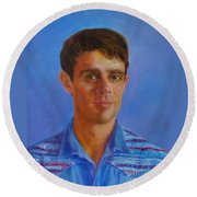 Portrait Of Canadian Operatic Tenor Paul Ouellette  Round Beach Towel