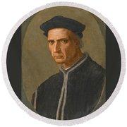 Portrait Of Piero Soderini Half Length Wearing A Black Coat And A Black Hat Round Beach Towel