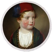 Portrait Of Prince Victor Odescalchi  In Greek Costume At The Age Of Five Round Beach Towel