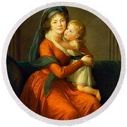 Portrait Of Princess Alexandra Golitsyna And Her Son Piotr Round Beach Towel