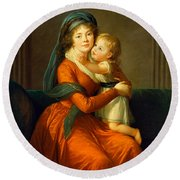 Portrait Of Princess Alexandra Golitsyna And Her Son Piotr Round Beach Towel