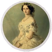 Portrait Of Princess Of Baden Round Beach Towel by Franz Xaver Winterhalter