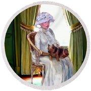 Portrait Of Prudence Round Beach Towel