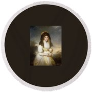 Portrait Of Queen Charlotte Three-quarter Length In A White Dress A Yellow Shawl And Black Mantilla Holding A Maltese Dog Sir Henry William Beechey Round Beach Towel