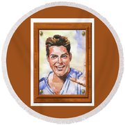 Portrait Of Ricky Martin Round Beach Towel