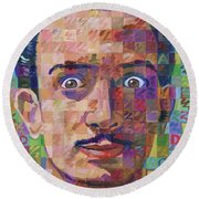 Portrait Of Salvador Dali Round Beach Towel