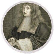 Portrait Of Sir Isaac Newton Round Beach Towel