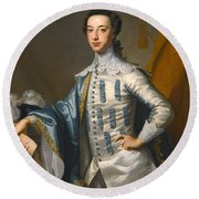 Portrait Of Sir James Lowther 1st Earl Of Lonsdale Three Quarter Length Holding A Mask In His Right  Round Beach Towel
