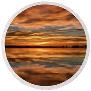Portrait Of Sunrise Reflections On The Great Plains Round Beach Towel