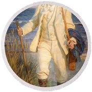 Portrait Of The Danish Painter Peder Severin Kroyer Round Beach Towel