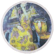 Portrait Of The Empress Dowager Cixi Round Beach Towel by Chinese School