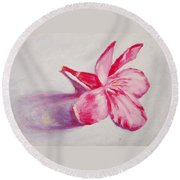Portrait Of The Kaneri Flower. Oleander Round Beach Towel
