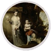 Portrait Of The Ladies Amabel And Mary Jemima Yorke Round Beach Towel