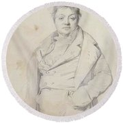 Portrait Of The Painter Charles Thevenin Director Of The Academy Of France In Rome Round Beach Towel