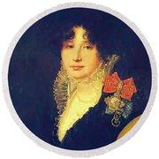 Portrait Of The Princess A Scherbatova 1808 Round Beach Towel
