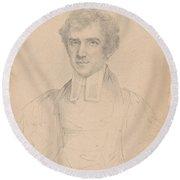 Portrait Of The Rev John Pierpont  Round Beach Towel
