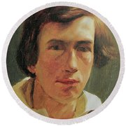 portrait of the young Arnold Bocklin Round Beach Towel