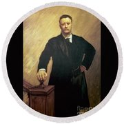 Portrait Of Theodore Roosevelt Round Beach Towel by John Singer Sargent