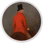 Portrait Of Thomas Cholmondeley - 1st Lord Delamare On His Hunter  Round Beach Towel