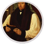 Portrait Of Thomas Cranmer Round Beach Towel