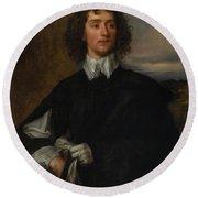 Portrait Of Thomas Hanmer Round Beach Towel
