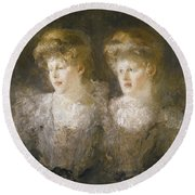 Portrait Of Two Ladies Round Beach Towel