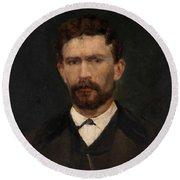 Portrait Of Unknown Man Rosales Gallinas, Eduardo Round Beach Towel