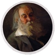 Portrait Of Walt Whitman 1887 Round Beach Towel