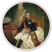Portrait Of William I King Of The Netherlands Round Beach Towel