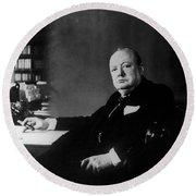 Portrait Of Winston Churchill  Round Beach Towel