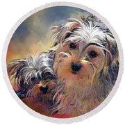 Portrait Of Yorkshire Terrier Puppy Dogs Round Beach Towel